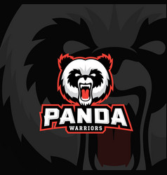 panda warriors abstract sign emblem or vector image
