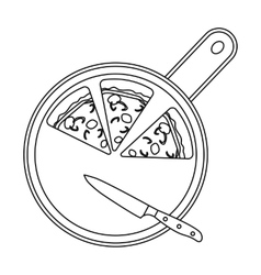 Pizza on cutting board icon in outline style vector