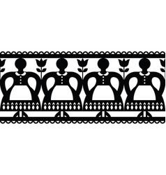 Polish folk art cutout pattern with women vector