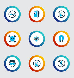 Protection icons colored set with strong magnet vector