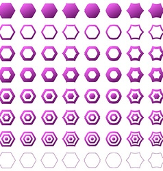 Purple hexagon polygon icon template set vector image