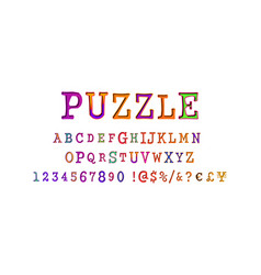 puzzle font and numbers vector image
