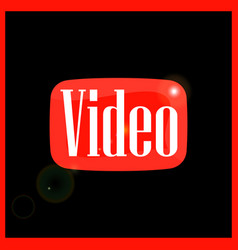 red button of video vector image