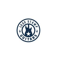 rock guitar music band retro vintage label logo vector image