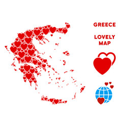Romantic greece map composition of hearts vector