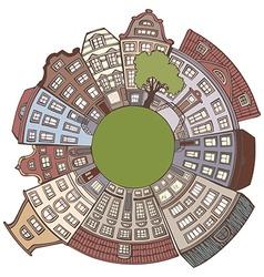 Round urban landscape vector