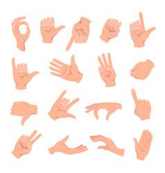 set hands in different gestures hand signal vector image