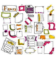 set of hand drawn paper notes lists in vector image