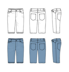 Set of male jeans shorts vector