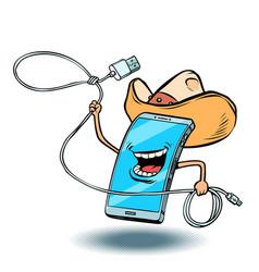 smartphone cowboy character vector image