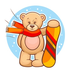 Teddy bear with snowboard vector