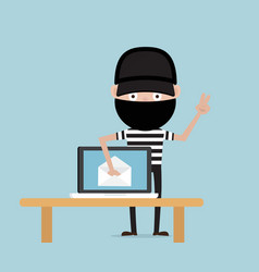 thief steal data from email on laptop vector image
