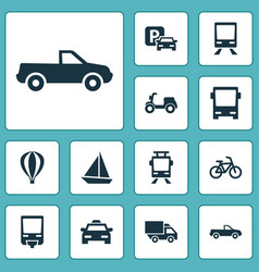 transportation icons set collection of skooter vector image