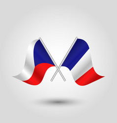 two crossed czech and french flags vector image