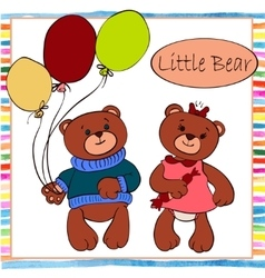 Two little boy and girl bear vector