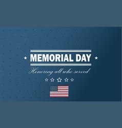 Usa memorial day holiday back vector