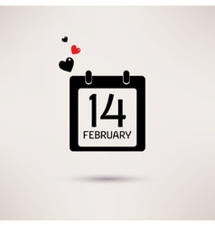Valentines Day icon calendar with hearts vector image