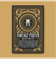 Vintage luxury poster background template vector