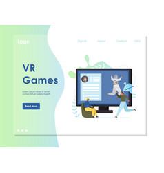 vr games website landing page design vector image