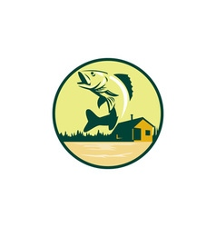 Walleye Fish Lake Lodge Cabin Circle Retro vector