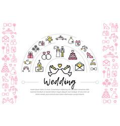 wedding line icons template vector image
