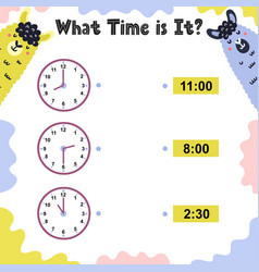 What time is it activity page for kids with clock vector