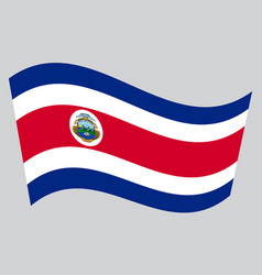 flag of costa rica waving on gray background vector image