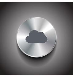 metal cloud button vector image vector image