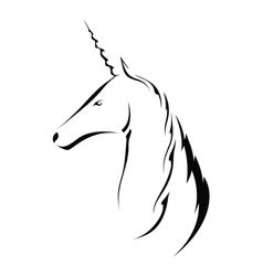Silhouette head with a unicorn vector image vector image