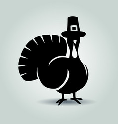 silhouette of turkey thanksgiving day vector image