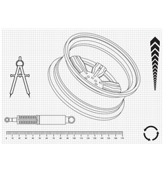 wheel and shock absorber on a white vector image