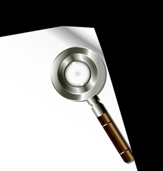 white paper and magnifier vector image vector image