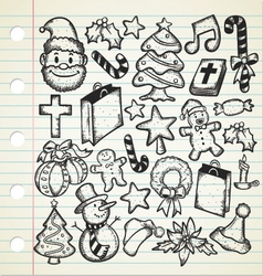 big set of christmas doodles vector image vector image