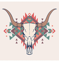 bull skull with ethnic ornament vector image vector image