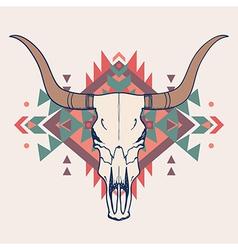 bull skull with ethnic ornament vector image
