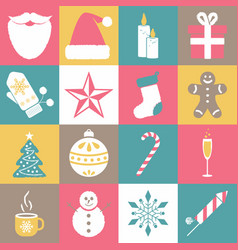 collection of christmas and new year icons vector image vector image