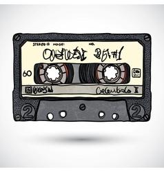 Doodle style cassette tape vector
