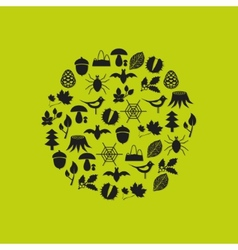 forest icons in circle vector image vector image