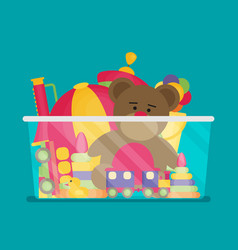 Kids toy box full of toys modern flat style vector