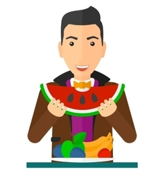 Man eating watermelon vector