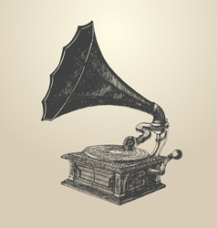 Phonograph - vintage engraved retro vector image vector image