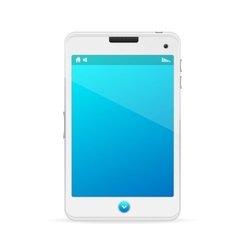 Realistic white mobile phone with blue screen vector image
