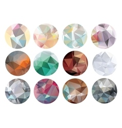 Set of abstract crystal circles in polygon style vector image vector image