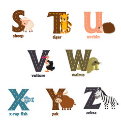 alphabet with animals s to z vector image