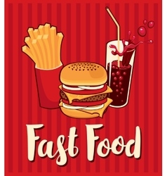 banner with fast food with cola vector image vector image