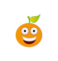 color kawaii fruit orange happy icon vector image
