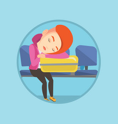 exhausted woman sleeping on suitcase at airport vector image