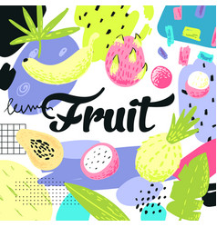 hand drawn design with tropical fruits vector image vector image