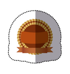 brown round emblem with ribbon icon vector image vector image