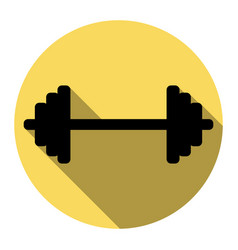 dumbbell weights sign flat black icon vector image vector image